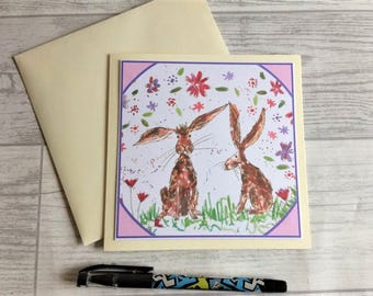 Rabbit greetings card, blank card, greetings card, birthday card, note card, thank you card, rabbit thank you card, rabbit card, rabbit