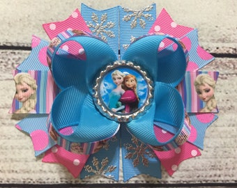 Frozen Hair Bow,Frozen Boutique Hair Bow,Princess Anna Elsa Hair Bows , Frozen Stacked Hair Bows , Disney Frozen Hair Bow ,Pink and Blue Bow