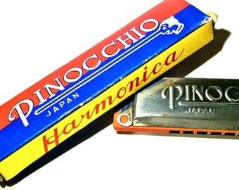 Vintage Pinocchio Harmonica with Original Box