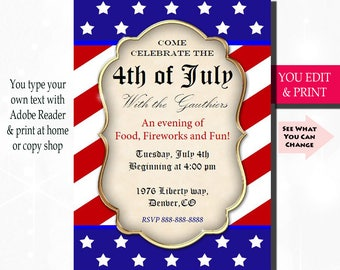4th of July Invitation, Fourth of July Invitation, July 4th Invitation, 4th of July Party Invitation, Flag Invitation, You Edit PDF