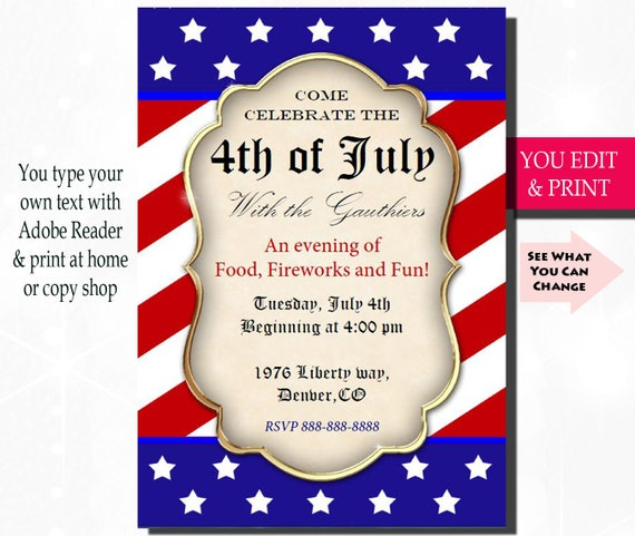 4th Of July Invitation Fourth Of July Invitation July 4th