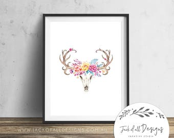 Boho Deer Skull - Wall Art Print