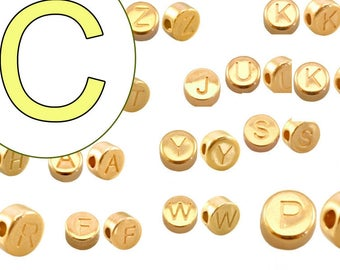 alphabet bead C 7mm gold plated #3868