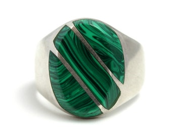 Vintage 1980s TAXCO Mexican Sterling Silver and Green Inlaid Malachite Large Mens Ring Size 13.5