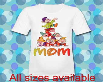 Easy Iron On Transfer Paper Seven Dwarfs Mom of the Birthday Princess T shirt Transfer Three Sizes Paper Transfer