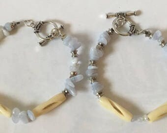 Handmade His and hers Genuine Chalcedony Gemstone Carved Bovine Bone Native American Inspired Beaded Bracelet, bone bracelet