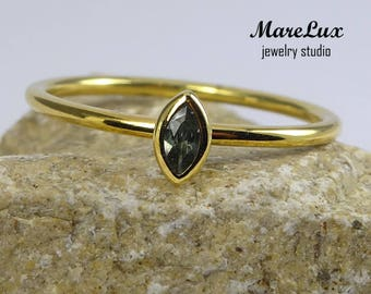 14K Yellow Gold Marquise Tourmaline Ring, October Birthstone Solid Gold Ring, Synthetic Green Tourmaline Ring, Stackable Yellow Gold Ring
