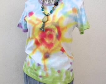 """Sun"" (2) hand painted cotton t-shirt"