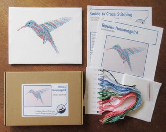 Hummingbird embroidery kit, bird cross stitch kit, Christmas gift for crafter, bird watcher, ornithologist, make your own exotic animal