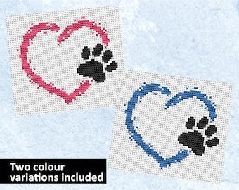Pet heart cross stitch pattern, dog cross stitch, cat cross stitch, paw print card motif, easy embroidery design, learn to cross stitch PDF