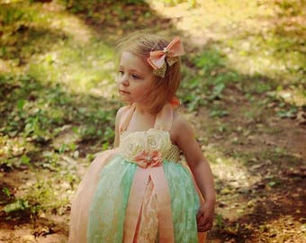 Mint and pink lace flower girl dress
