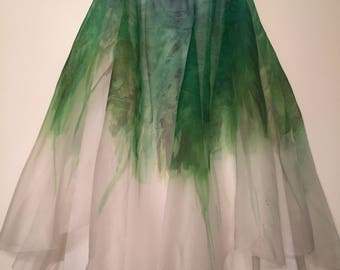 Dryad (Hand Painted Silk Organza Ballet Skirt) Knee Length