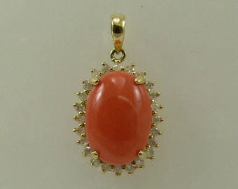 Coral 10 mm x 14 mm Pendant 14k Yellow Gold with Diamonds 0.37ct