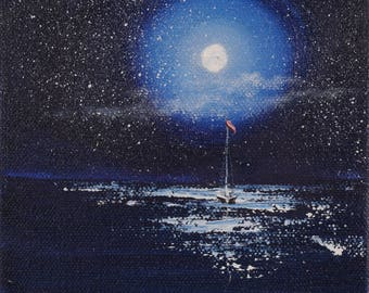 Night Full Moon Painting, Coastal Landscape, Ocean Art, Sailboat Painting, Seascape, Beach Decor, Original Small Oil Painting on Canvas
