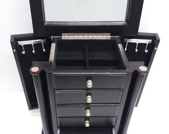 Large Black Wooden Jewelry Box Armoire