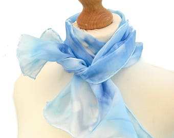 Blue scarf, light blue silk scarf, blue silk scarf, scarves, summer silk scarf, silk summer scarf, lightweight scarf, gift ideas for her