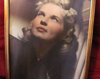Hand Tinted 8X10 Framed Photograph C 1940s Blonde Haired Blue-Eyed Femeal Period Frame