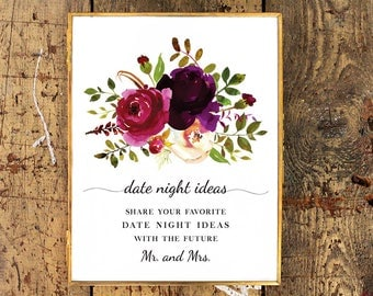 Date Night Ideas Sign | Bridal Shower Printable | Watercolor Floral Roses