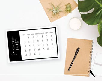2018 Printable Monthly Calendar - Wall or Desk Calendar - Home or Office organizing - 2018 Instant Download Calendar