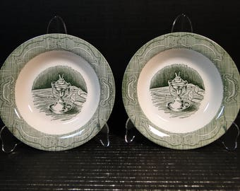 "TWO Royal China The Old Curiosity Shop Soup Bowls 8 1/2"" Set of 2 EXCELLENT!"