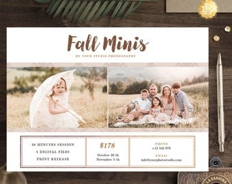 Fall Mini Session template for photographer, Photography Autumn minis templates, Mini sessions flyer marketing - INSTANT DOWNLOAD - MS009