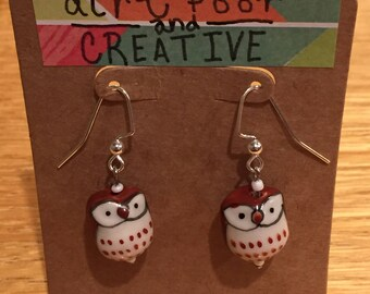 Owl Earrings- Burnt Umber