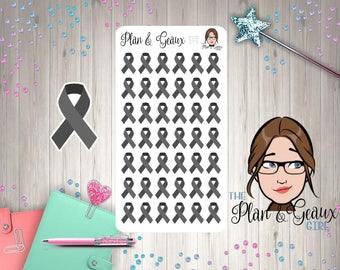 Black Awareness Ribbon Stickers, Melanoma Cancer Awareness Ribbon, Black Ribbon, Bullet Journal, Happy Planner, FUN-280