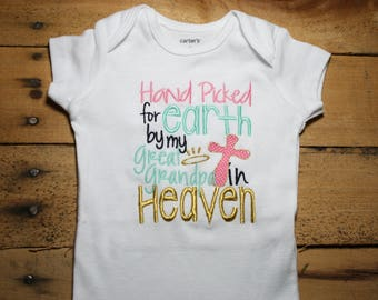 Embroidered Bodysuit Handpicked for Earth by my Great Grandpa in Heaven Baby Shower Gift Hand Picked New Design