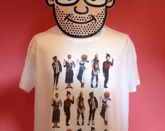 Kenny Everett Characters T-Shirt (Cupid Stunt / Sid Snot / Marcel Wave) - White Shirt