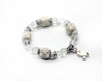 Lung Cancer Jewelry - Lung Cancer Bracelet - Lung Cancer Awareness - Lung Cancer Ribbon - Lung Cancer Charm Bracelet - Lung Cancer Charm