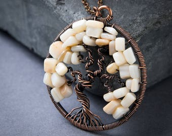 Tree of Life Pendant - Mother of Pearl Pendant - Wire Wrapped Pendant