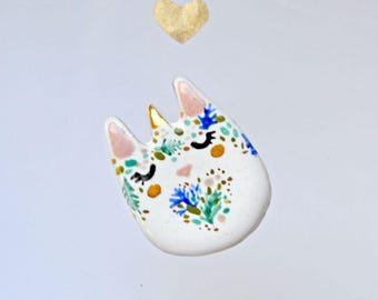 Unicorn-Cat Brooch, Forest Nymph Cat, Dreamer Gift Idea, Adorable Cat Lady Gift, Ceramic Cat Pin, Genuine Gold Decorated