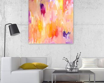Abstract Painting - Warm Embrace- on Canvas 20x20 inches - Original - Wall Art, Home Decor, Bright Decor - Free Shipping