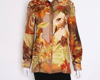 A vintage 1980s Silk Overshirt by Salvatore Ferragamo M