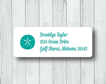 Beach Return Address Labels - Sand Dollar Labels - Summer - Personalized Sand Dollar Mailing Labels - Matte White or Clear Gloss