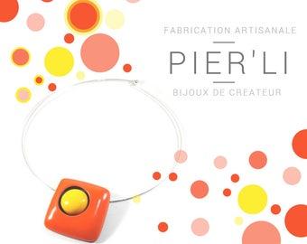 Choker necklace orange and yellow © PIER'LI