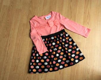 FREE SHIPPING Girls Fall Dress Pumpkin Print Skirt Halloween Size 3T