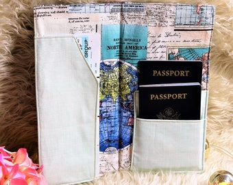 Blue passport holder etsy world maptravel wallet passport holder travel document holder travel organizer travel in gumiabroncs Image collections