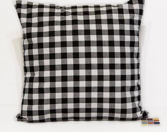 Black and White Plaid Pillow Cover with Invisible Zipper, Farmhouse Style Pillow Cover in Black and White Check,