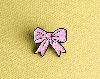 Pink Glitter Bow Enamel Pin // Pink Tie Pin Badge / Brooch