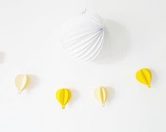6 hot air balloon Garland to decorate a nursery or for a baby shower - yellow