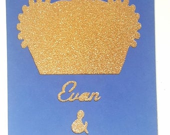 Map of prince Crown + name-Blue Navy and gold