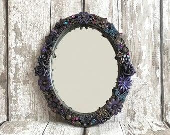 Oval mirror, Gothic mirror, Butterfly mirror, Flower mirror, Altered mirror, Fantasy mirror, Home decor, Mirror, Ooak mirror.