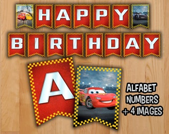 Disney Cars 3 Banner - INSTANT DOWNLOAD - Cars 3 Banner Printable -  Happy Birthday Cars 3 Lightning Mcqueen Jackson Storm Printable Movie