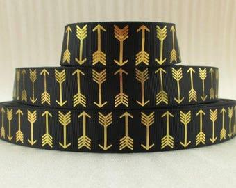 "7/8"" Gold Arrow Ribbon"