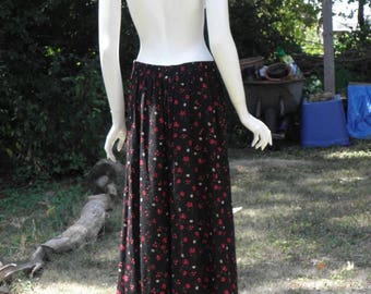 Vintage All Button Maxi Midi Skirt W/ Black & Red Floral Pattern