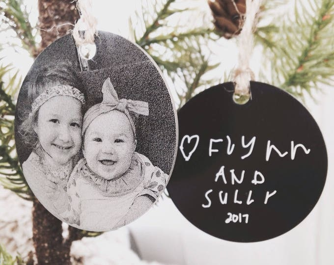 Personalized Photo Ornament -Two Inch Circle , Engraved Metal Christmas Ornaments - Use Your Photo, Handwriting, or Custom Text - 2017 Gifts