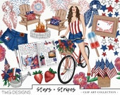 4th Of July Fashion Girl Clip Art Watercolor Clipart PNG America Fireworks Flags Bicycle Holiday Floral Hand Drawn Planner Sticker Graphics