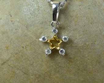12mm Petite CZ White Gold Filled/Rhodium Plated Star Minimalist White Gold/Rhodium Pendant With Clear CZ Stone/ White Gold Holiday Pendant