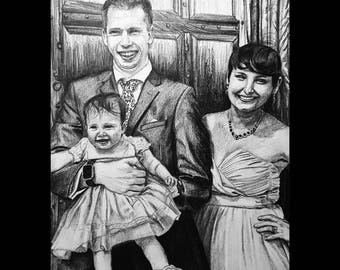 Custom Hand-drawn Family Portrait